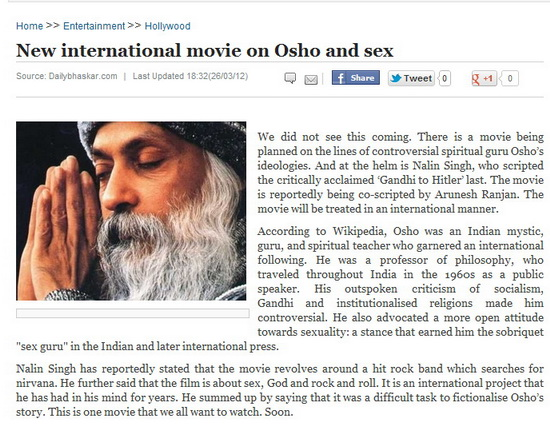 Movie on Osho, Sex, and Rock and Roll Planned