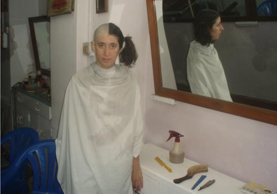 Mudita shaves her hair off