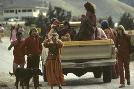 Sannyasins in pickup truck