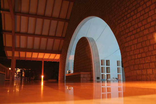 Windows of the meditation hall