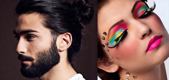 beard and bun and make-up
