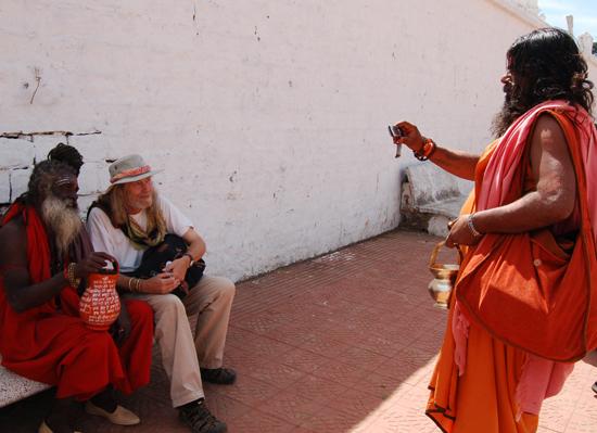 Even sadhus have cameras these days. Pilgrimage town of Amarkantak, India 2010
