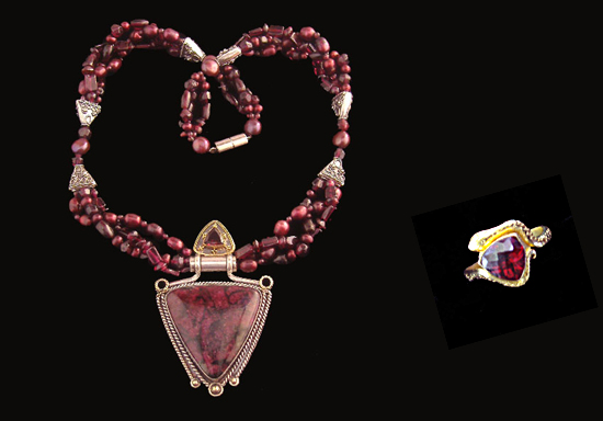 Eudialyte necklace and garnet ring