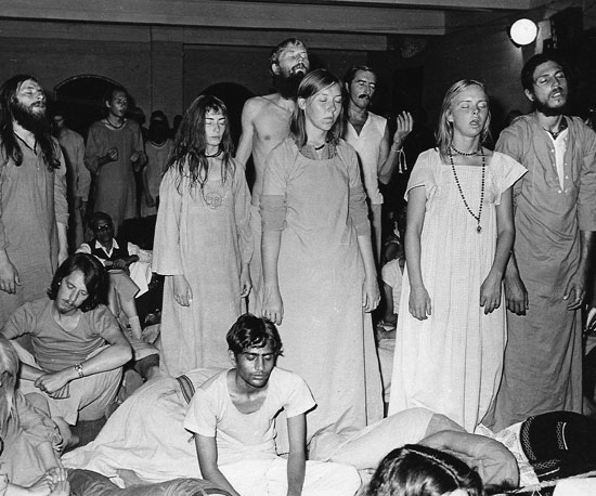 Meditation during the Mt Abu camp in 1973