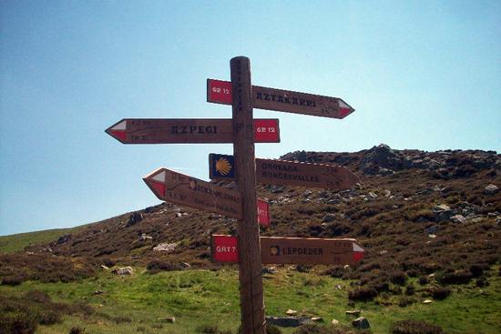 Signpost near the French-Spanish Border