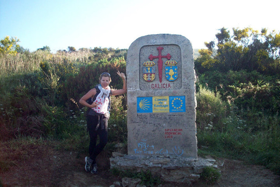 Eva posing at the entrance to Galicia