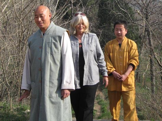 Ibo, Veena and kung fu master at the Shaolin Temple in China