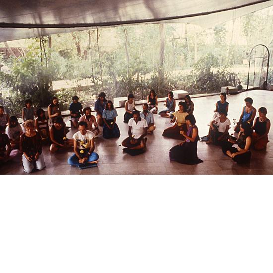 Meditators in Buddha Hall