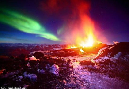 lava and aurora borealis
