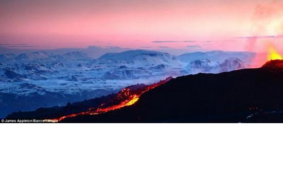 lava flows at dawn