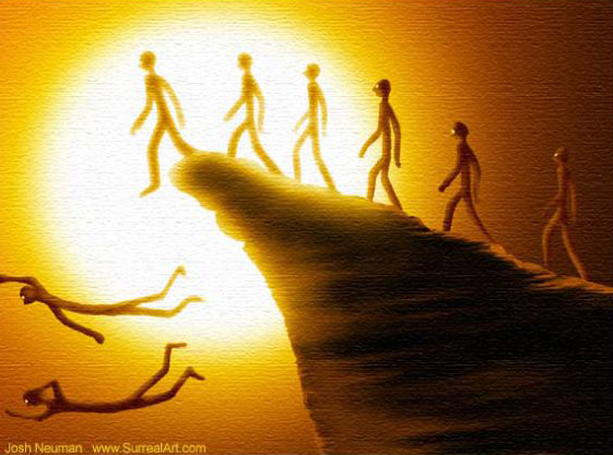 lemmings-humans walking off the cliff