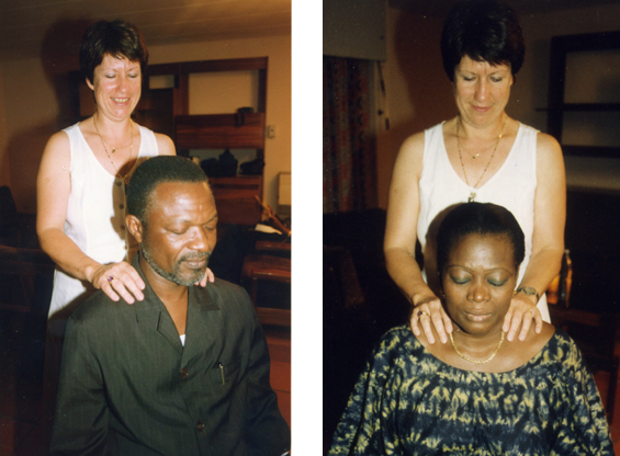 Giving Reiki to Bashir (André) and Célestine Kowouvi