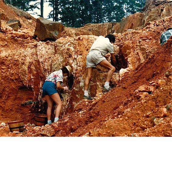 Sitara and Satdeva digging for crystals at mine in Arkansas, USA.