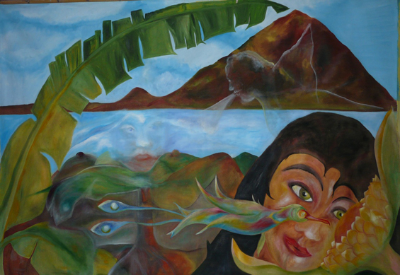 An Atitlan Moment: This painting is still in process; the 4 elements just decided to appear in this Atitlan landscape.