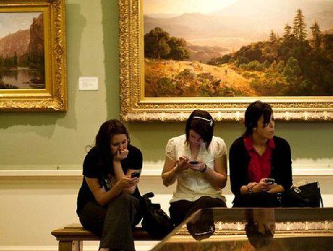 Enjoying art in a museum