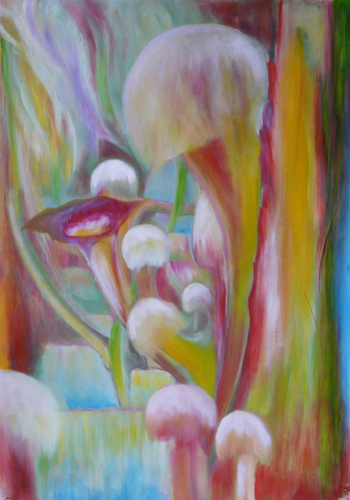 Natural Senses: Nature is ready, aroused, excited to create. The Tantra teachings on Mahamudra by Osho permeate all my paintings.