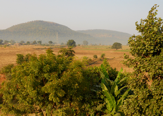 The land around Osho Moulshree, with hills of the Vindhya Range