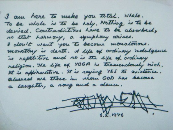 Letter Osho