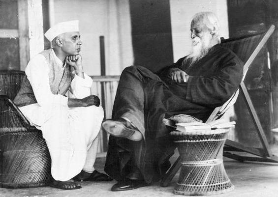 Rabindranath Tagore and Jawaharlal Nehru - November 4 1936 Bolpur Bengal