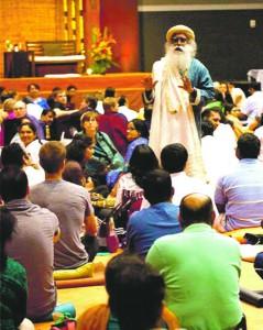 Yogi Sadhguru Vasudev leads a group through a meditation practice.  Read more: Neighbor Newspapers - Indian spiritual leaders visit Atlanta