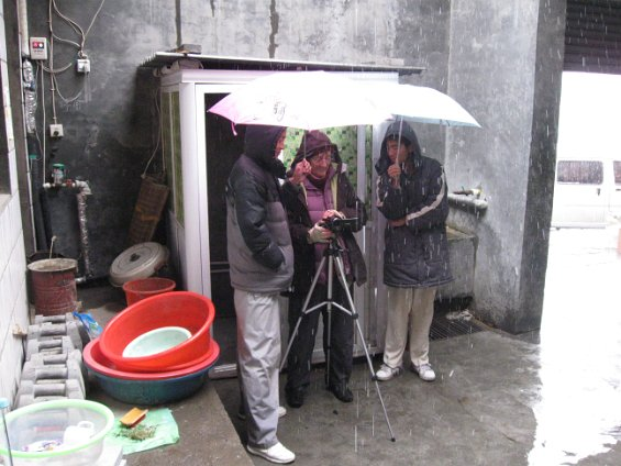 filming in the snow at the Kungfu School