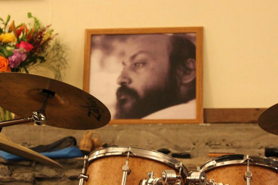 Teertha's drumkit with Osho picture