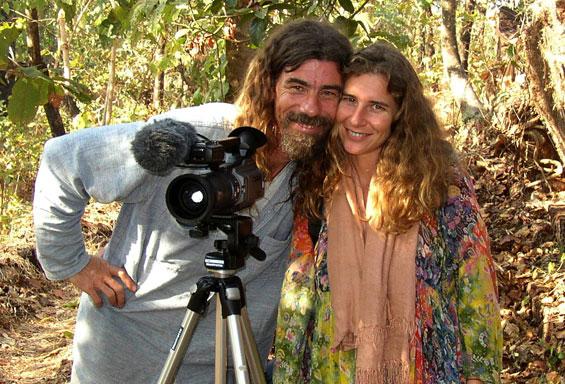 Chinmaya and Naveena while filming