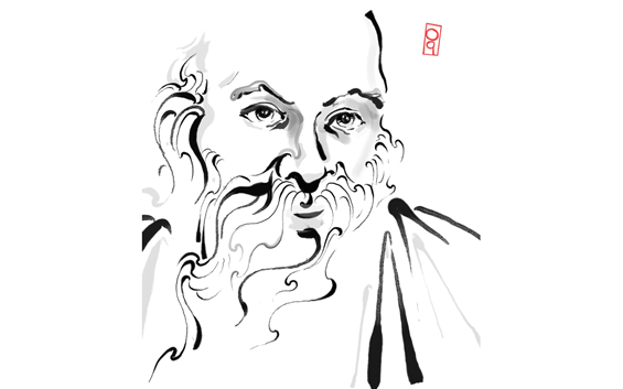 drawing of Osho by Shanti