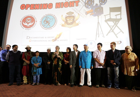 Pankaja (middle) speaks on Opening Night