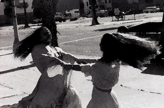 Madhuri and Sarita dancing in street