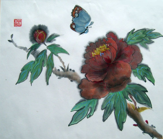 Peony with Butterfly