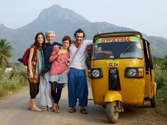 Gyan in Arunachala with friends and rickshaw