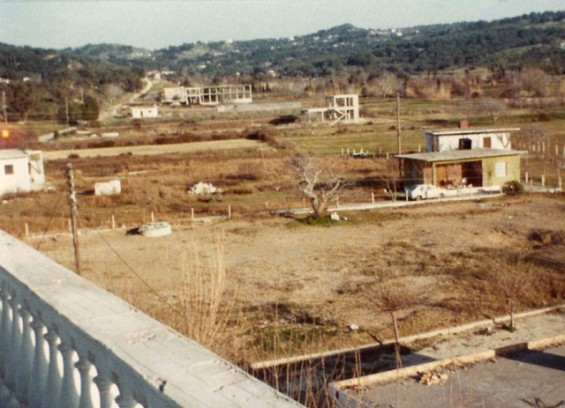 Arillas seen from Hotel Marina, with road to Korfu Town, 1977
