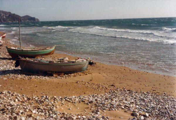 Fishing boats on Arillas beach, 1977