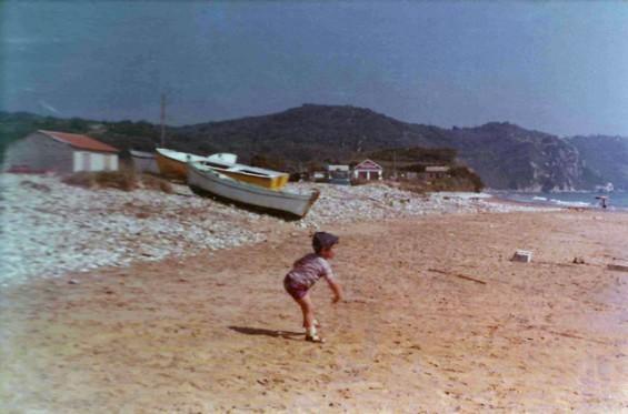 Throwing stones Arillas beach, in 1978