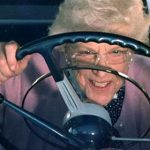 Old Lady at Wheel