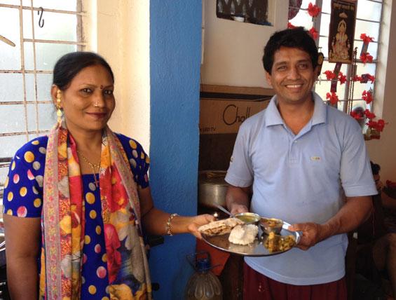 Nitin and Gita with thali