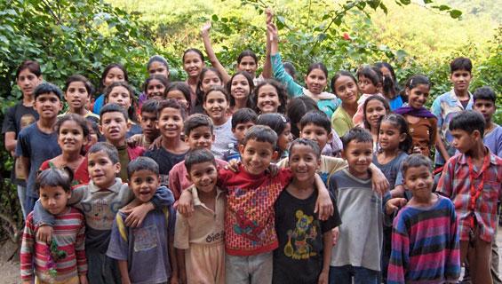 Kids at Ramana's Garden