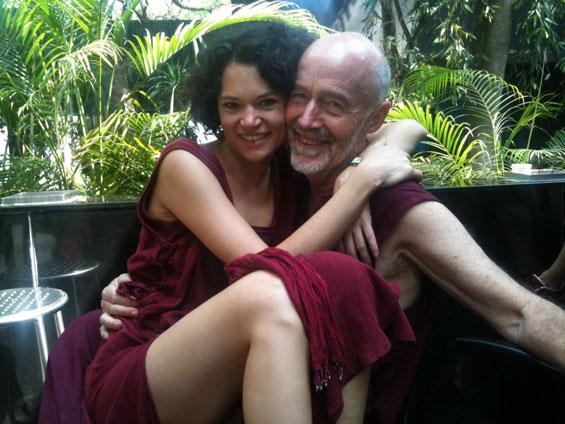 Subhuti with girl in lap