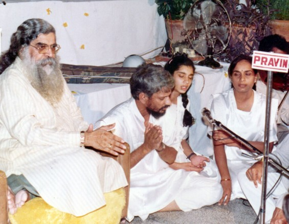 Singing at meditation camp with my parents when 13