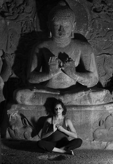 Practicing pranayama: Ajanta Ellora Caves, India