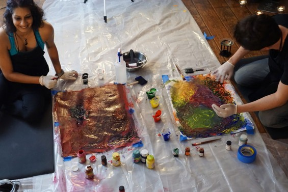 Painting workshop in EmptyCupjourney studio, San Diego at age 39