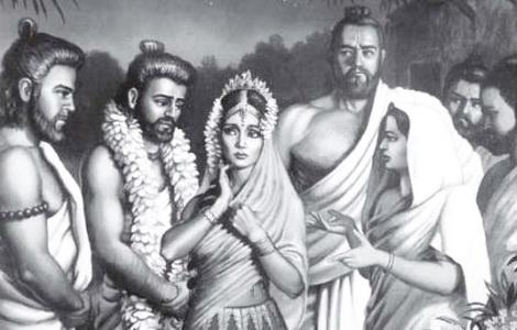 Draupadi and 5 Pandava brothers