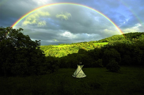 Rainbow over teepee