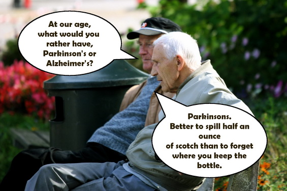 Two old men sitting on a bench