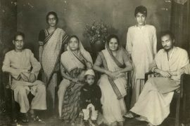 Osho in Jabalpur before his enlightenment with cousin Kranti second left, standing