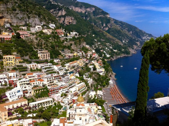 The view over Positano beach.