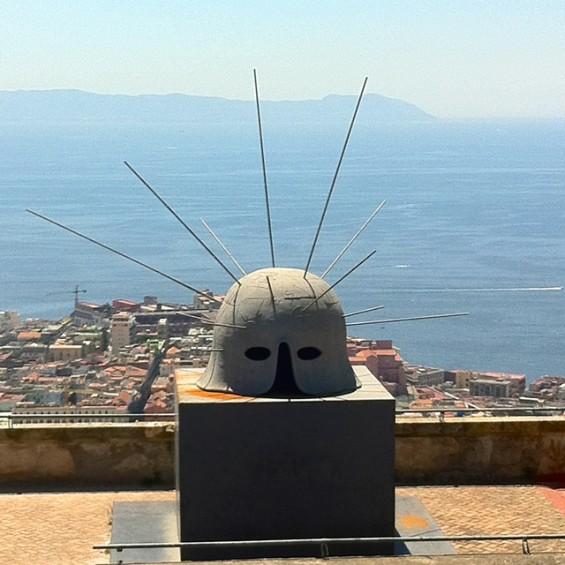 Paladino's giant helmet in Castel Sant'Elmo.