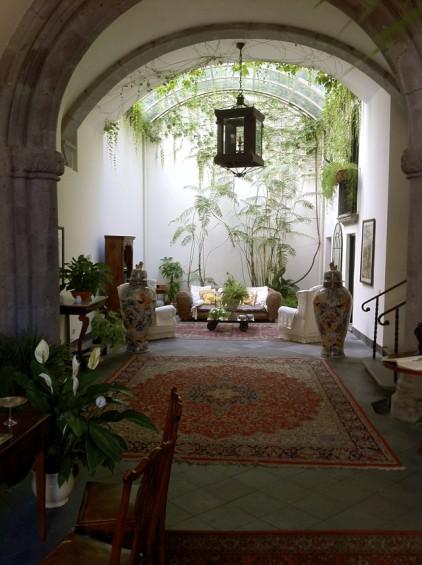 Beautiful hotel lobby, Mediterranean style.