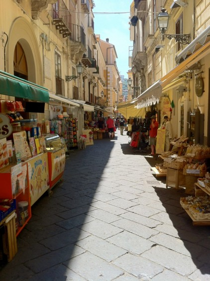 Vendors line the side streets of Sorrento.